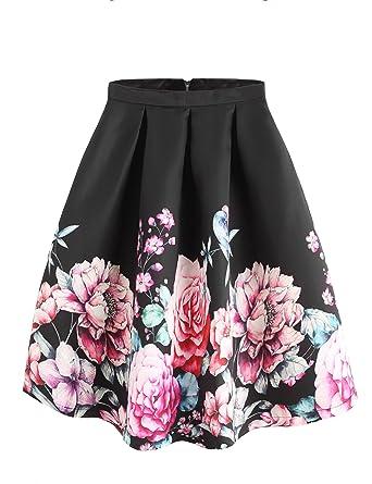 0ab6b63e3f SheIn Women's Casual Floral Print Vintage Box A-Line Pleated Midi Skirt  Small Black#