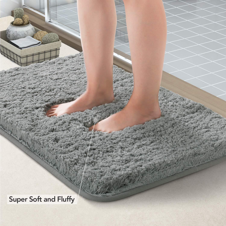 Elohas Bath Mat Non Slip Absorbent Super Cozy Velvet Bathroom Rug Carpet (17'' X 24'', Gray) (Gray) by ELOHAS