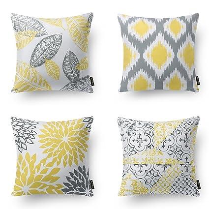 Amazon PHANTOSCOPE Set Of 40 Living Series Yellow Grey Classy Yellow And Grey Decorative Pillows
