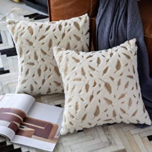 OMMATO Throw Pillows Covers 18 x 18,Set of 2 White Fur with Gold Leaves Soft Throw Pillows for Couch Bed,Accent Home Decorative Square Cushions Cases Shams Pillowcases Farmhouse,45 x 45 cm