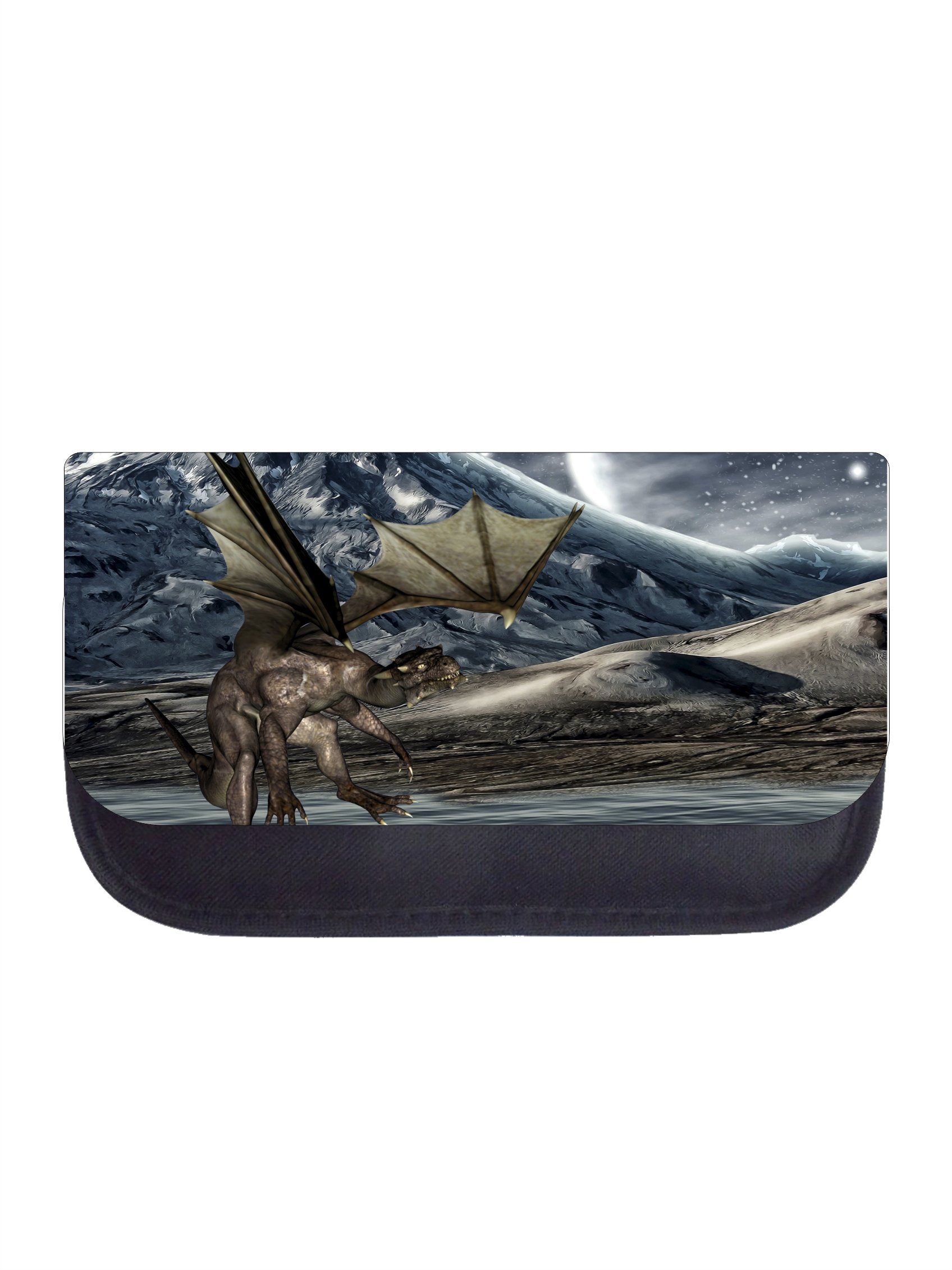 Dragon on a Mountaintop - Girls/Boys Black Pencil Case - Pencil Bag