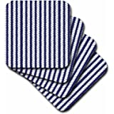 3dRose Navy Blue and White Nautical Rope Design - Soft Coasters, Set of 8 (cst_212475_2)