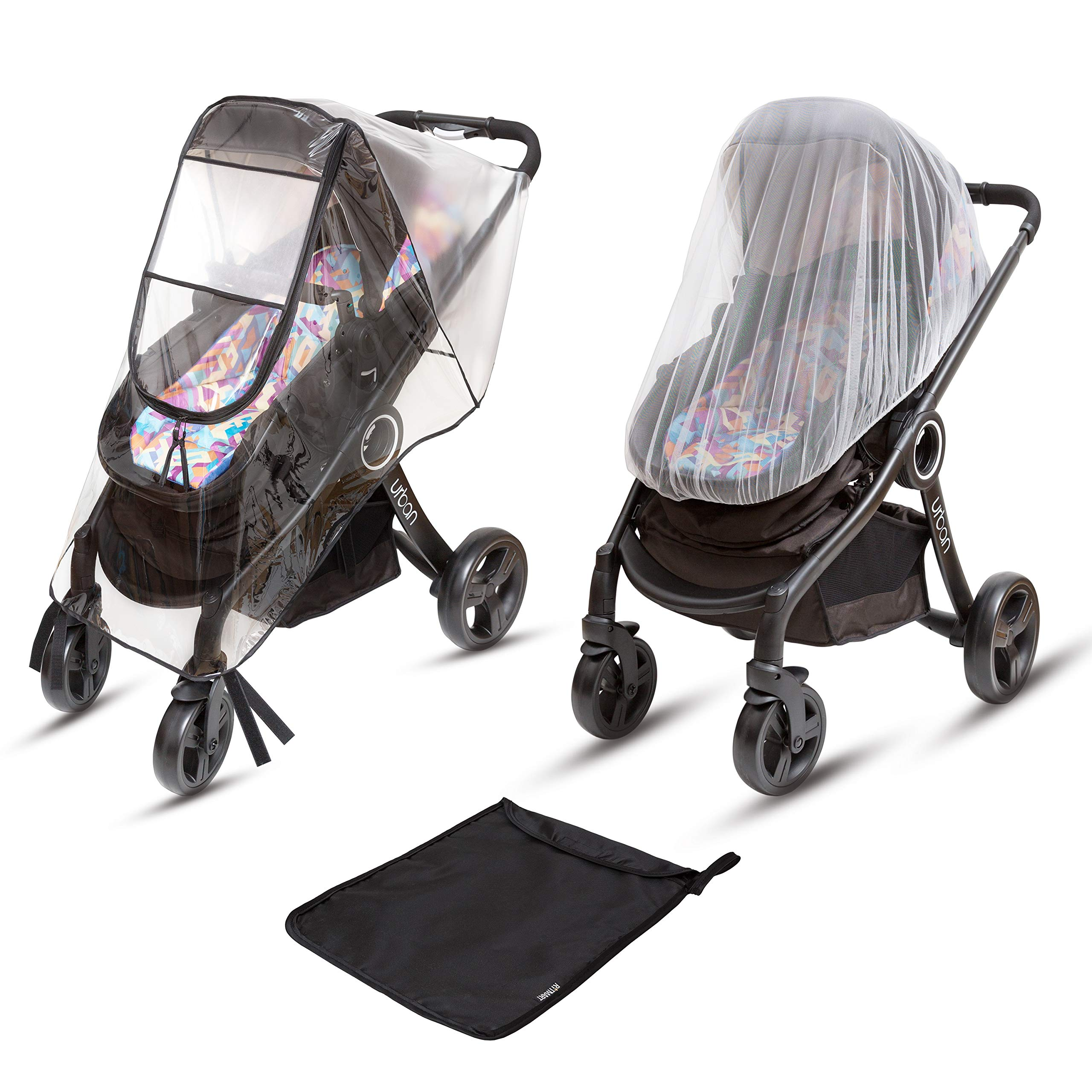 Ritmart Baby Stroller Rain Cover Universal + Mosquito Net (2-Piece Set), Waterproof, Windproof & Ventilation, Premium Travel Weather Shield Accessories, Shower Gift by Ritmart