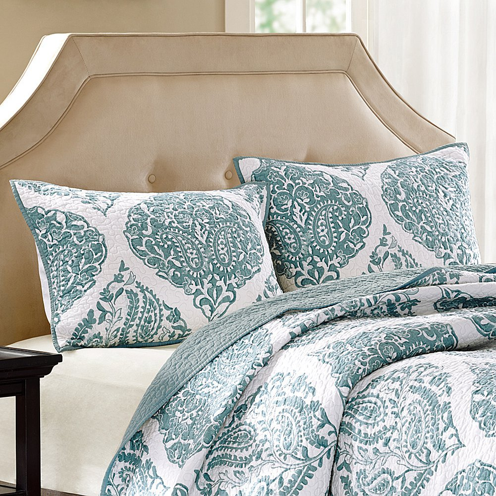 Harbor House Ogee Paisley Quilted Sham, King, Blue/White