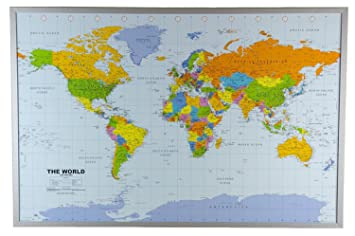 Amazon political world map on cork pinboard 24 x 36 home political world map on cork pinboard 24 x 36 gumiabroncs Image collections