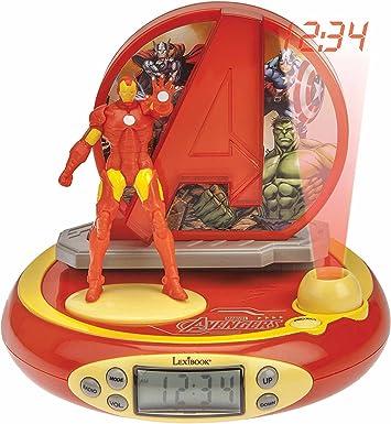 Lexibook Radio Réveil Projecteur Jeu Électronique, Iron Man, RP510AV