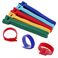 Multiware 50-Piece Fastening Cable Ties, Reusable Nylon Cable Ties Cord Adjustable Fastener Hook Loop Stick Straps