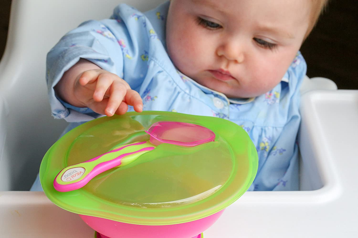 Pink Vital Baby Unbelievabowl Suction Bowl with Lid /& Spoon