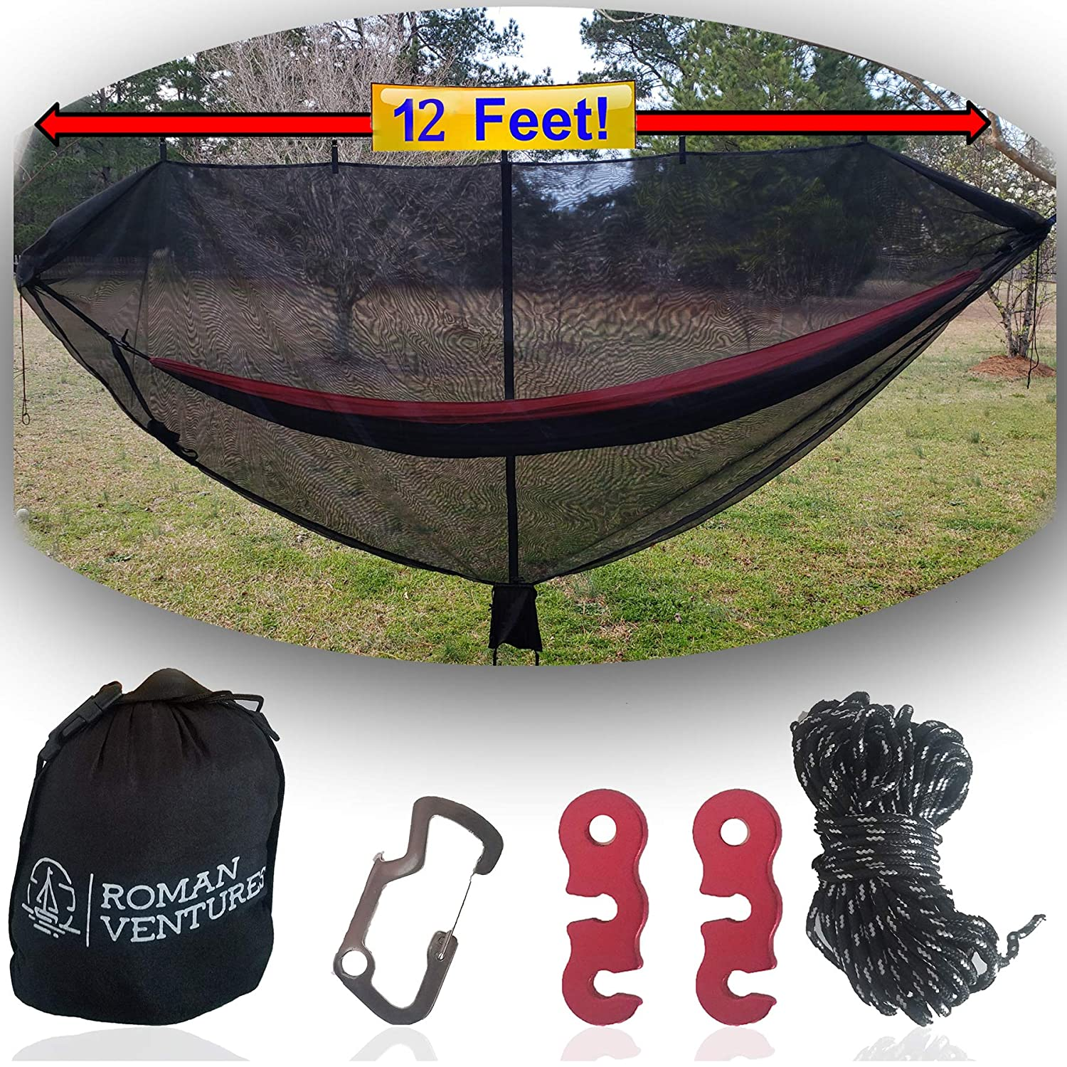 Hammock Bug Net – 12 Hammock Mosquito Net Fits All Camping Hammocks. Includes Loop For Reading Light, Carabiner Bottle Opener, Tensioner System And 30 Foot Guy Line. Lightweight. Easy Setup.