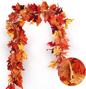 RECUTMS 2 Pcs Artificial Autumn Maple Leaves Garland - 5.8 FT/Pcs Hanging Fall Leaves Vines Hanging Plants Colorful Fall Decor for Home Wedding Party Door Fireplace Thanksgiving Festival Dinner