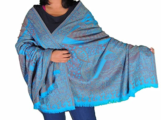 ec6be7a3cdb NovaHaat Blue Wool Embroidery Formal Shawl Ladies Evening Dress Wrap ...