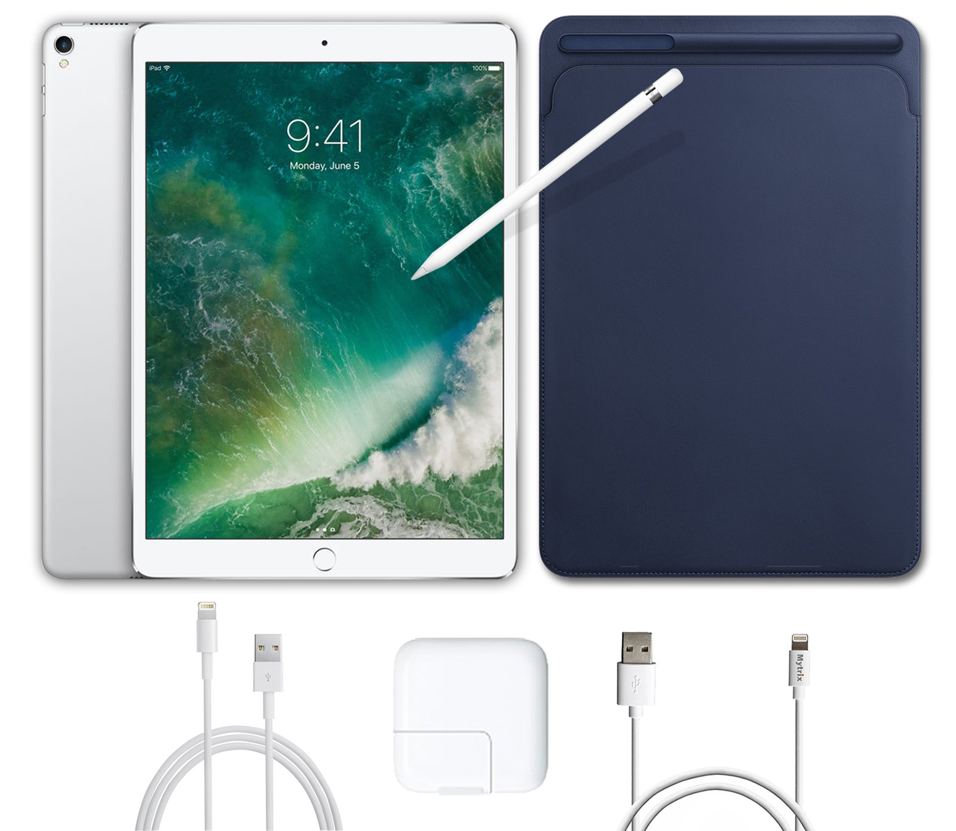 2017 New IPad Pro Bundle (5 Items): Apple 10.5 inch iPad Pro with Wi-Fi 512 GB Silver, Leather Sleeve Midnight Blue, Apple Pencil, Mytrix USB Apple Lightning Cable and All-in-One Travel Charger
