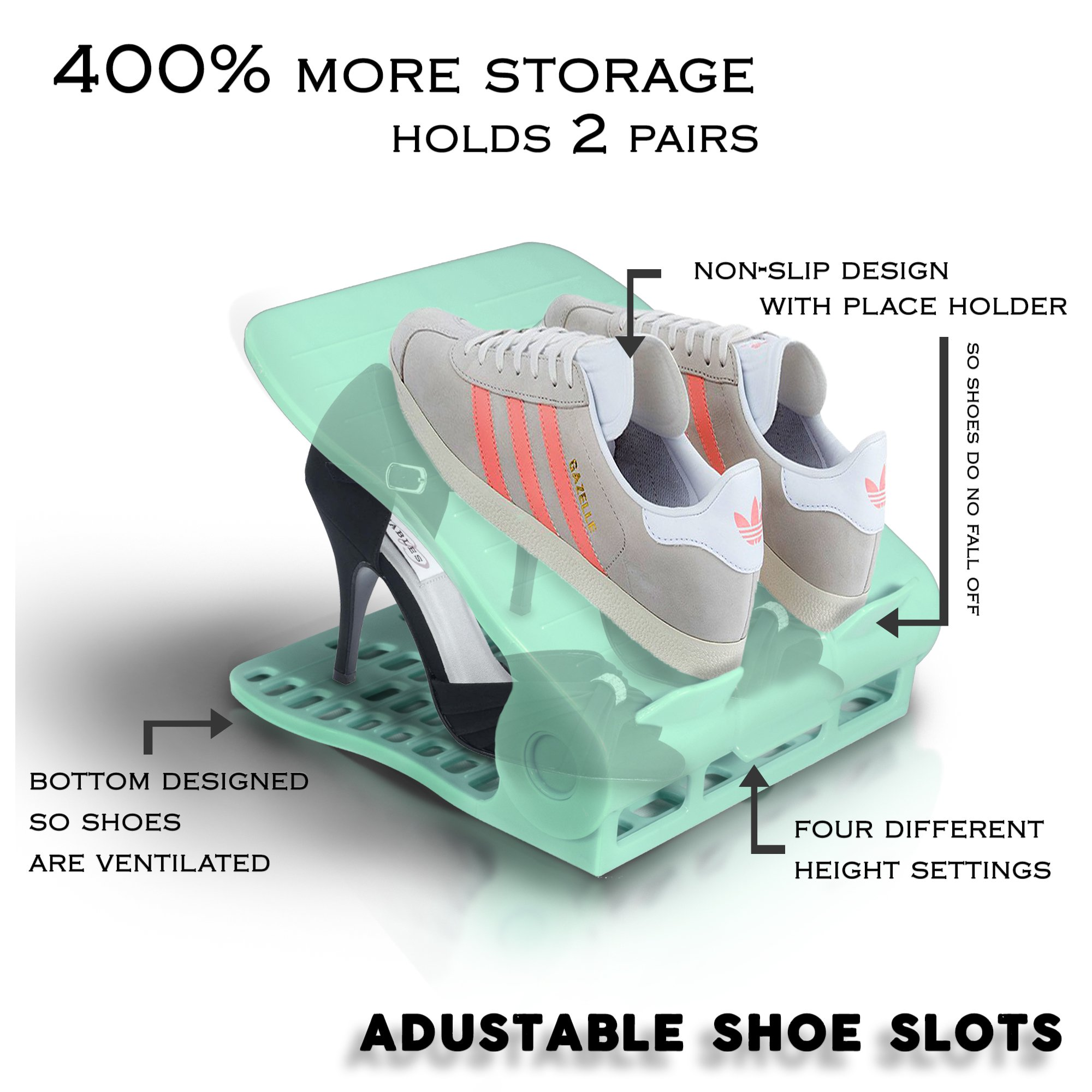 [UPGRADED] Shoe Organizer - Adjustable Display Closet Space Saver - Small Double Rack Shoe Slot for 1 Pair - Pink - 20 Pcs by Stark (Image #3)