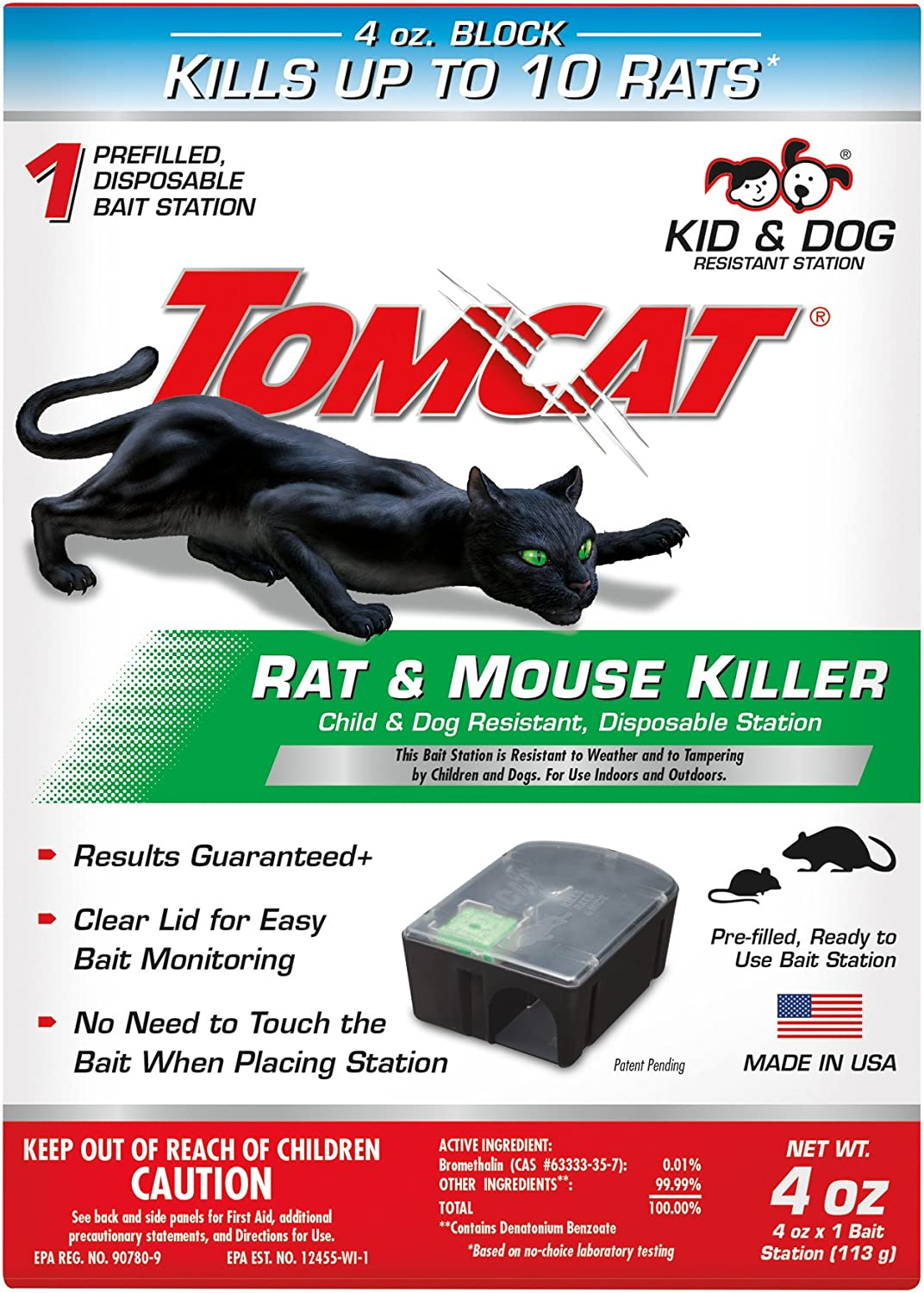 Tomcat Rat and Mouse Killer Disposable Station for Indoor/Outdoor Use - Child and Dog Resistant, 1 Station with 1 Bait