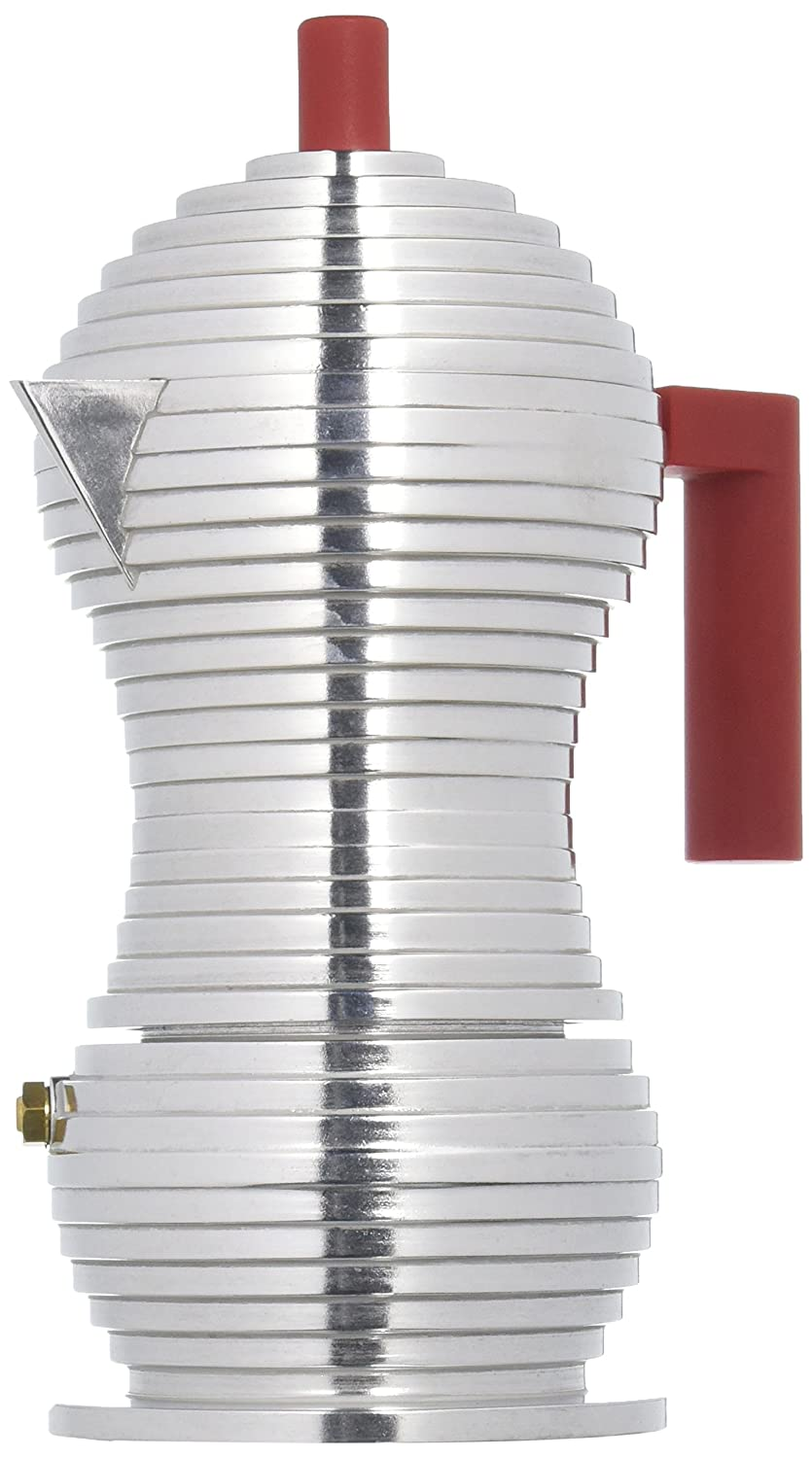 Alessi MDL02/3 RPulcina Stove Top Espresso 3 Cup Coffee Maker in Aluminum Casting Handle And Knob in Pa, Red