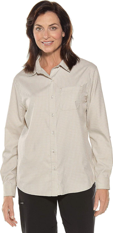 Light Taupe Gingham Coolibar UPF 50+ Women's Sun Shirt  Sun Predective (Large Light Taupe Gingham)