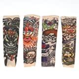 2 Pcs Fake Nylon Kid Temporary Fake Tattoo Sleeves Arm Stockings Goth Punk Cool Child VOSO