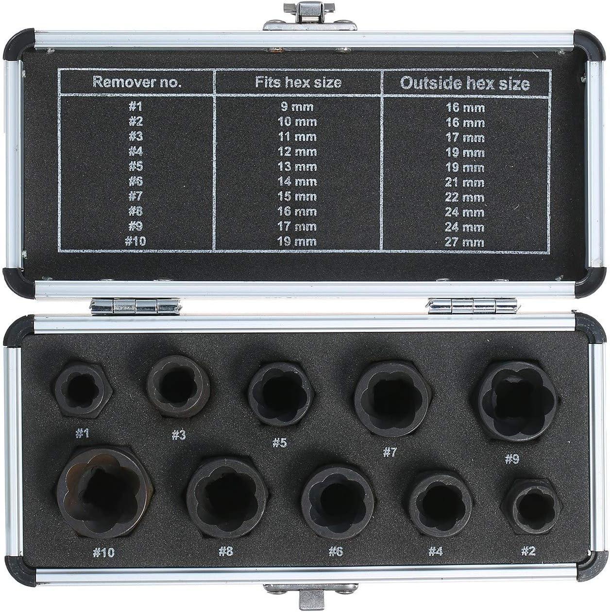 TEVISE 10pcs Alta Tornillo Extractor de núcleo 9-19mm de Bloqueo de la Rueda Central Remover Juego de Extractores Mango Llave Kit de Herramientas