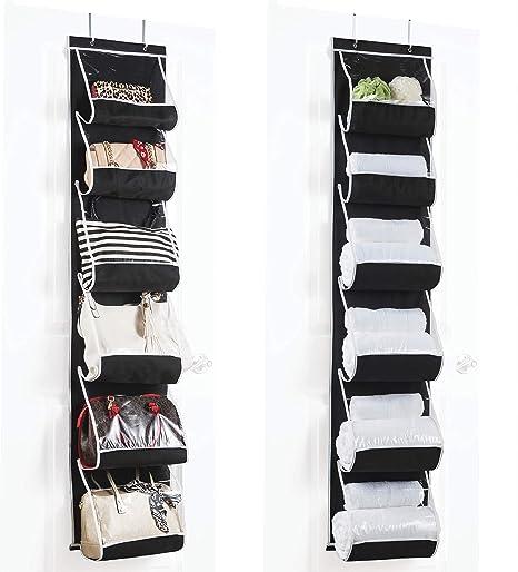 dormitorio organizador para zapatos ba/ño Organizador de 24 bolsillos para colgar sobre la puerta bolsa de almacenamiento con ganchos para cocina blanco guardarropas plegables Nobranded FGF