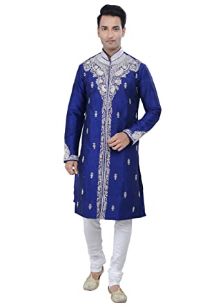 110ed6eba38249 Amazon.com: Rajwada Ethnic Indian Design Royal Blue Kurta Sherwani for Men  2pc Suit: Clothing