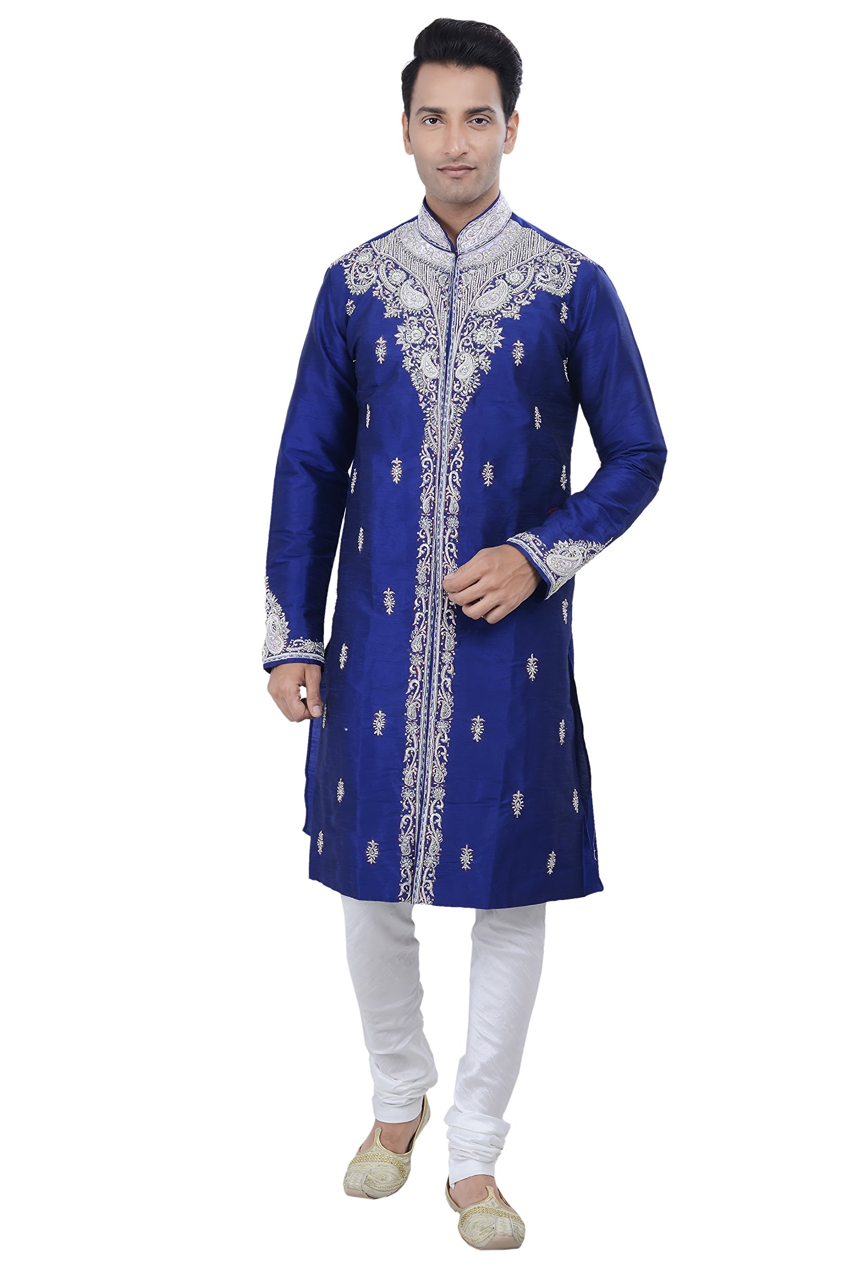 Rajwada Ethnic Indian Design Royal Blue Kurta Sherwani for Men 2pc Suit (XL (42))