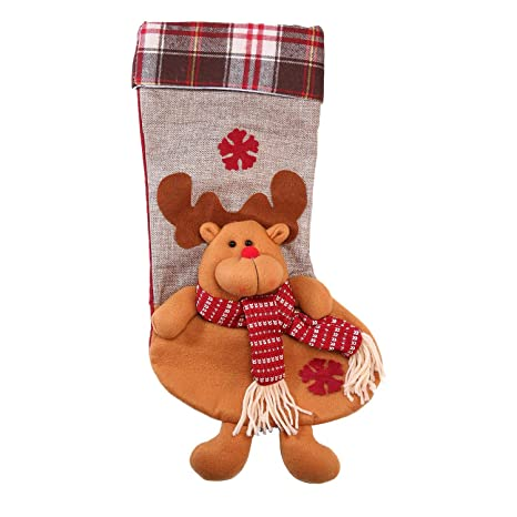 KOBWA Calcetines de Navidad para Colgar, diseño de Papá Noel con Renos y Mini Calcetines