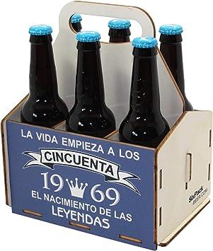 Portacervezas de madera, paquete de seis cervezas, caja portadora de seis, portacervezas de seis, regalo cerveza, cumpleaños 50 años, regalo 50 años, de madera, 50 cumpleaños, cumpleaños hombre, 1969: Amazon.es: Bricolaje y herramientas