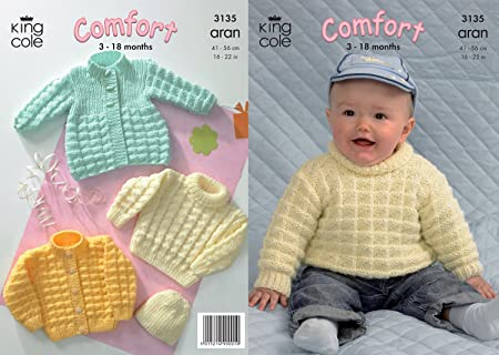 4b8059caac9fba Image Unavailable. Image not available for. Colour  King Cole Comfort Aran  Knitting Pattern Babies Knitted Coat Cardigan Sweater   Hat 3135