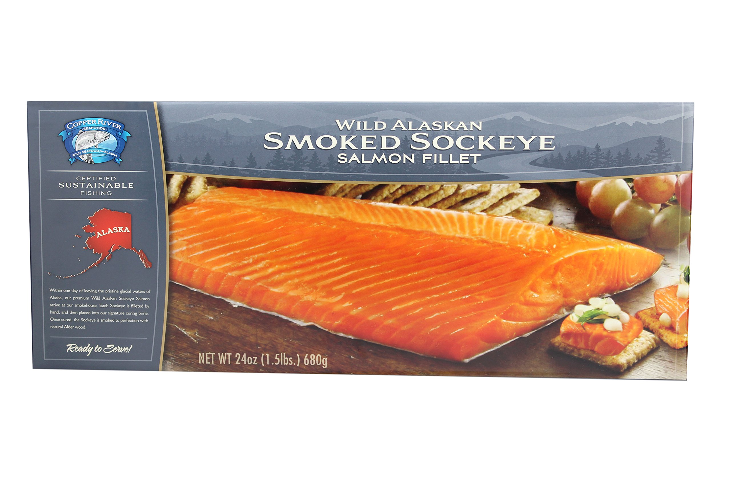 4-16 oz.Smoked Wild Alaska Sockeye Salmon (4lbs total) by Copper River Seafoods