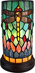 """Amora Lighting Tiffany Style Accent Lamp 10"""" Tall Stained Glass Yellow RedDragonfly Floral Vintage Antique Light Decor Nightstand Living Room Bedroom Gift AM270ACCB, Multicolor"""
