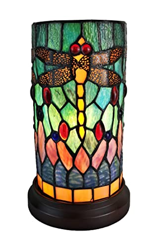Amora Lighting Tiffany Style Accent Lamp 10 Tall Stained Glass Yellow Red Dragonfly Floral Vintage Antique Light Decor Nightstand Living Room Bedroom Gift AM270ACCB, Multicolor