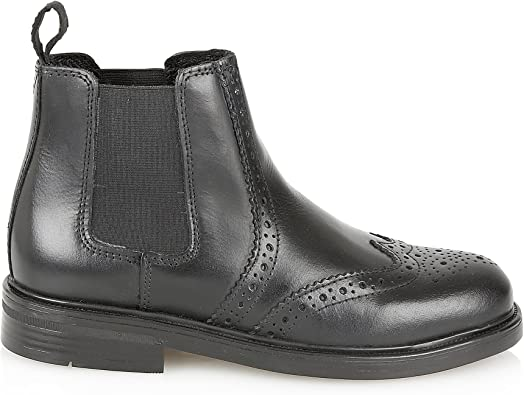 Oaktrak Walton Kids Black Pull On Chelsea Real Leather School Boots
