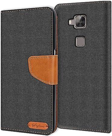 Verco Huawei G8 Custodia per Cellulare, Caso Tessuto per Huawei G8 GX8 Cover Tessilo Portafoglio Case, Nero
