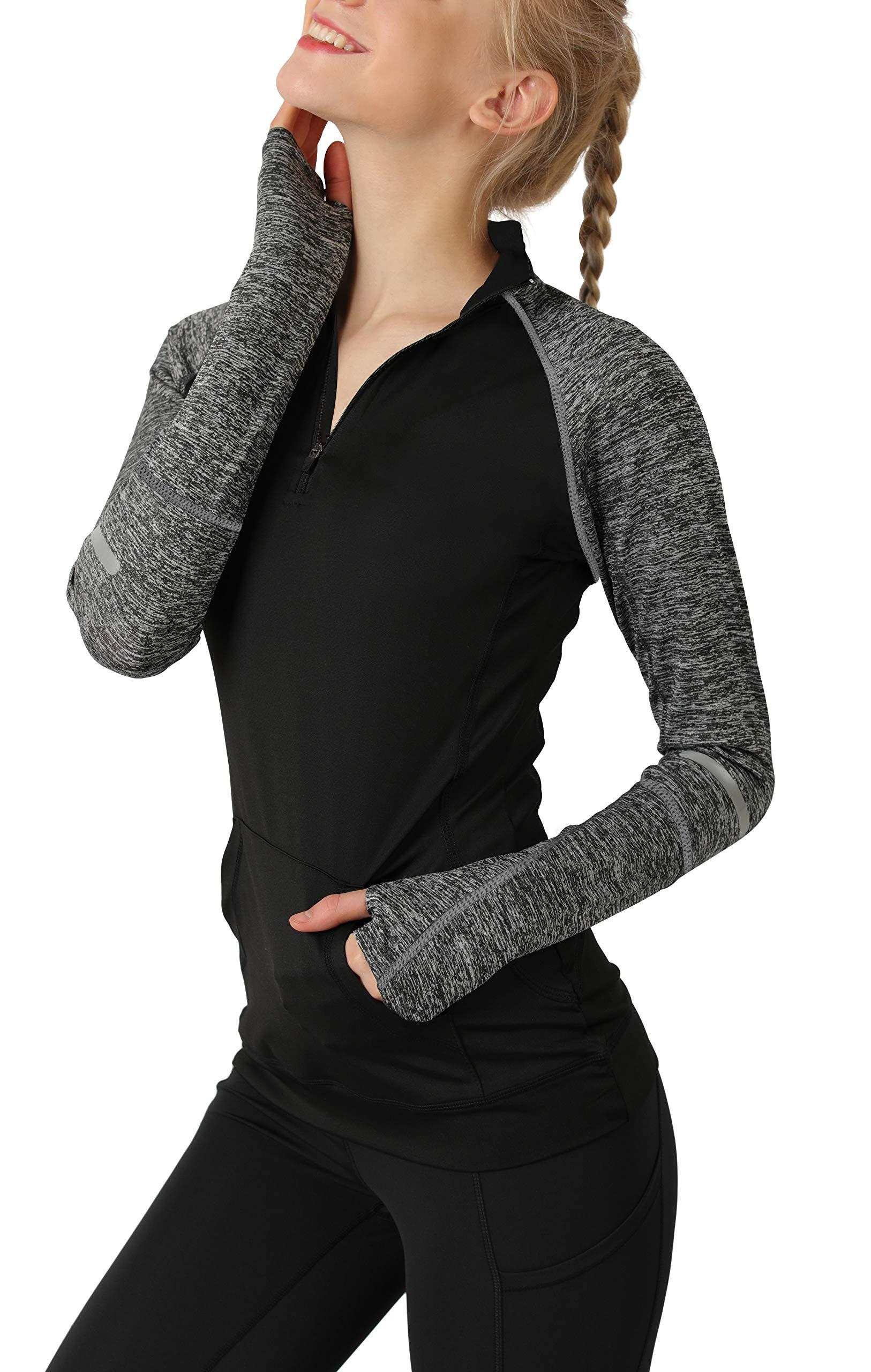Cityoung Women's Yoga Long Sleeves Half Zip Sweatshirt Girl Athletic Workout Running Jacket bk l by Cityoung