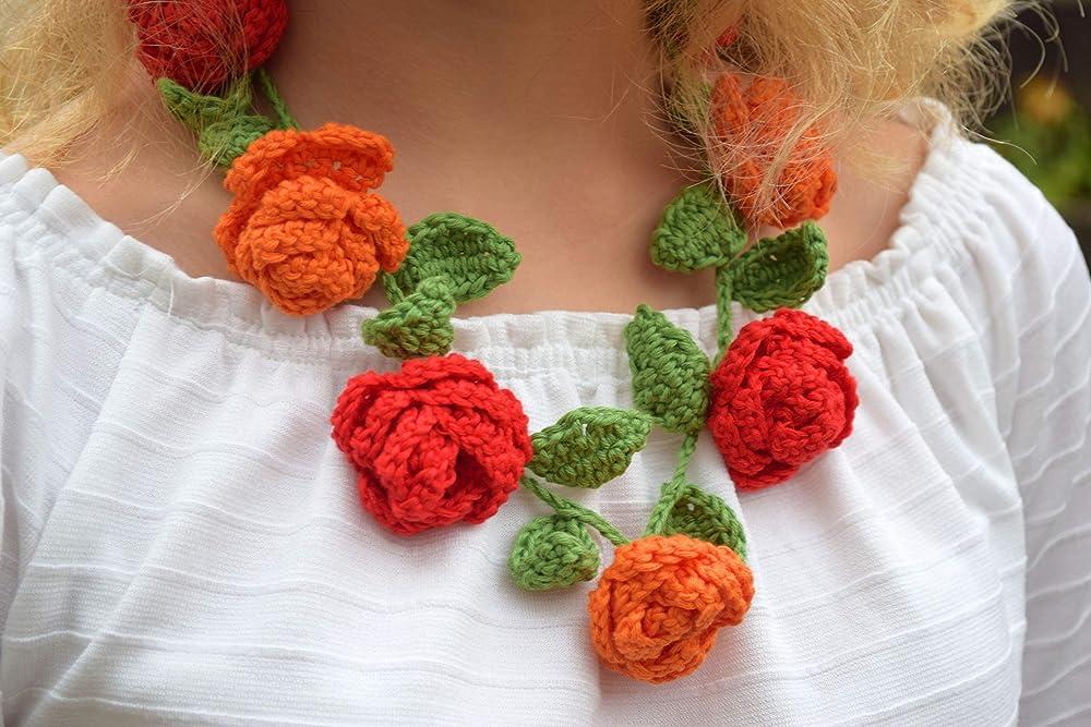 Grey Flower Necklace Crochet Rose Necklace,Crochet Neck Accessory 100/% Cotton.