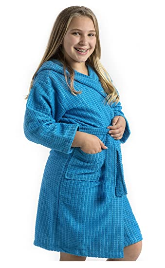 Microfiber Bath robe for Kids, size LARGE, AQUA Color