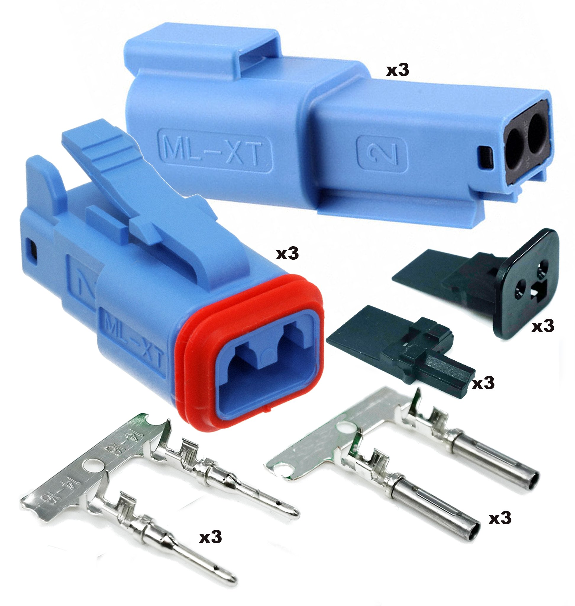 Molex Sealed- 2 Pin Blue Connector w/14-18 AWG - ML-XT (Key Lock) (3 Completed Set)