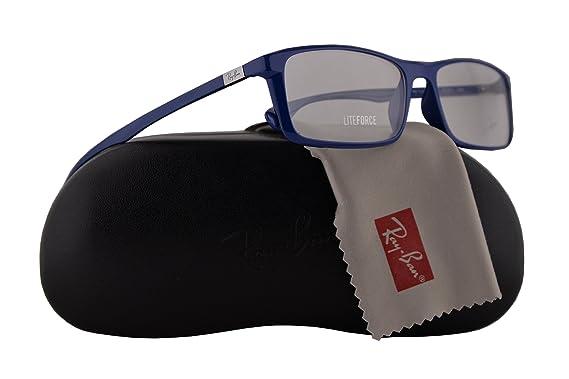 c86ea984a3 Amazon.com  Ray Ban RX7035 Eyeglasses 57-17-145 Shiny Dark Blue w Demo  Clear Lens 5431 RB7035 RB 7035 RX 7035  Clothing