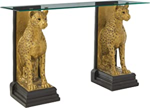 Design Toscano Royal Egyptian Cheetahs Console Table, 55 Inch, Polyresin and Glass, Gold and Woodtone