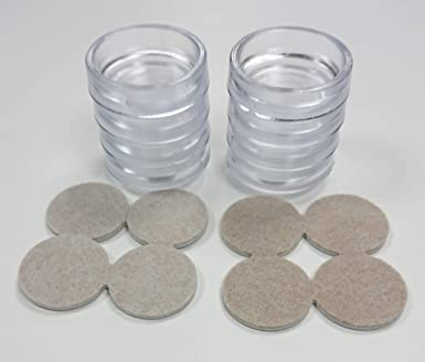 "2/"" CASTOR CUP SMALL CLEAR OD 50mm /& FELT PAD 4 pcs."