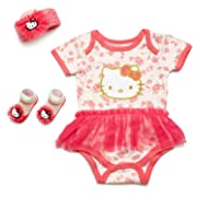 Hello Kitty Baby Girls' 3 Piece Gift Box with Tutu Onesie, Headband & Bootie Socks (Coral)