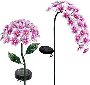 Exhart Solar Hydrangea Garden Stake (2) – Pink Hydrangea w/LED Lights - Hydrangea Flowers Metal Stake, Metal Hydrangea Decor Lights, Solar Hydrangea Garden Stake