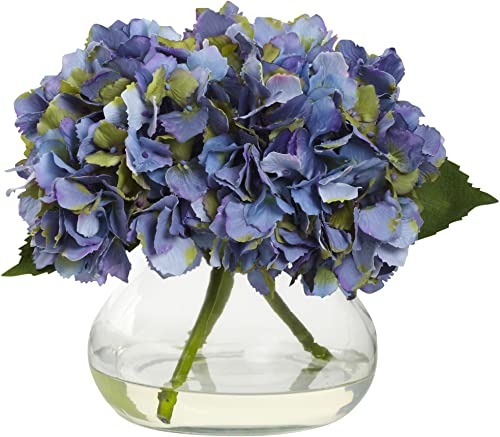 Nearly Natural 1356-BL Blooming Hydrangea with Vase, Blue