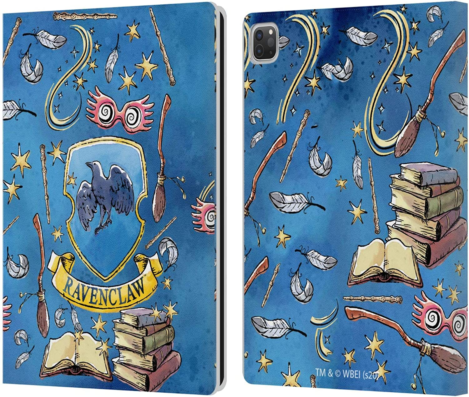 Head Case Designs Officially Licensed Harry Potter Ravenclaw Pattern Deathly Hallows XIII Leather Book Wallet Case Cover Compatible with Apple iPad Pro 12.9 (2020)