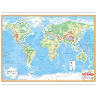 World Physical Map (English) (Size 70 X 100 Cms) Without Pvc Rollers Educational Chart Classroom Chart School Chart