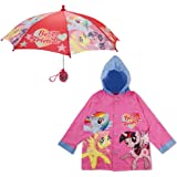 Hasbro Girls LPR69446EC1 Friends Hooded Rain Slicker and Umbrella with Rainwear Set Girls Rain Accessory - My Little Pony Character Slicker and Umbrella Rainwear Set - Age 2-3 Pink