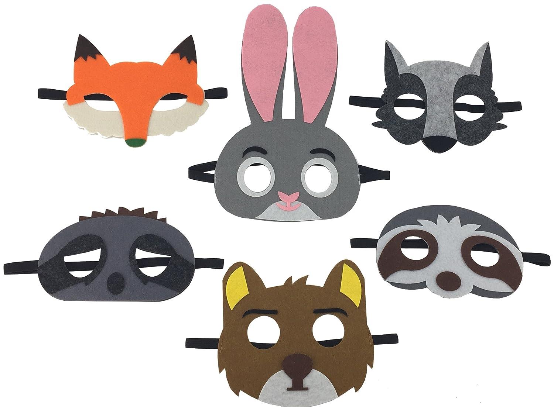 Whoopgifts 6 Assorted Cartoon Animal Felt Eye Masks Party Favors