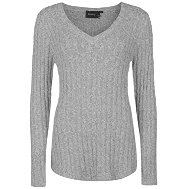 8dc1302cb38bd4 Firetrap Womens Cable Knit Jumper Sweater Pullover Long Sleeve V Neck  Pattern Grey MARL 18 (XXL): Amazon.co.uk: Clothing