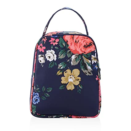 b255e9382bc6 wonderful flower women insulated fashionable lunch bag flower Small Lunch  Bag Lunch Bunch (21Navy Coral)