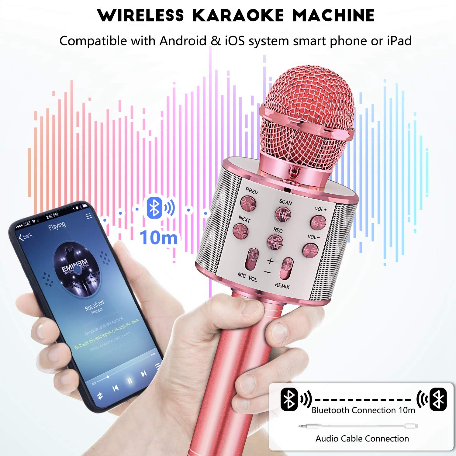 SEATANK Bluetooth Karaoke Wireless Microphone for Kids Toys Wireless Portable Karaoke Machine 858 Blue Handheld Mic Speaker Christmas Birthday Party for Kids Gifts Android//iPhone Compatible